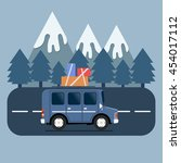 travel car campsite place... | Shutterstock .eps vector #454017112
