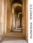 Small photo of El Jem. Tunisia. Pictured here is the enfilade in the amphitheatre.