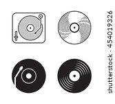 four icons vinyl  black logo... | Shutterstock .eps vector #454019326