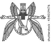 ancient assyrian winged deity.... | Shutterstock .eps vector #454019476