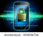 smartphone with padlock over a... | Shutterstock . vector #454036726