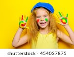 cute laughing little girl with... | Shutterstock . vector #454037875