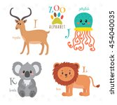 zoo alphabet with funny cartoon ... | Shutterstock .eps vector #454040035