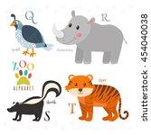 zoo alphabet with funny cartoon ... | Shutterstock .eps vector #454040038