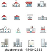 icons set of places in flat... | Shutterstock .eps vector #454042585