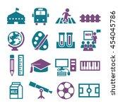 school  college icon set   Shutterstock .eps vector #454045786