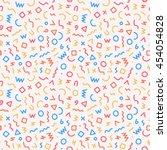 memphis style seamless pattern. ... | Shutterstock .eps vector #454054828