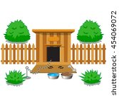 wooden dog house with a bushes  ... | Shutterstock .eps vector #454069072
