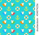 colorful marine ships pattern ... | Shutterstock .eps vector #454074256