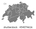 switzerland map with federal... | Shutterstock .eps vector #454074616