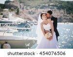 just married couple posing in...   Shutterstock . vector #454076506