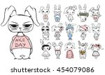 vector set with stylish cute... | Shutterstock .eps vector #454079086