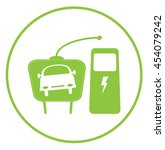 electric car icon with plug and ... | Shutterstock .eps vector #454079242