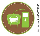 electric car icon with plug and ...   Shutterstock .eps vector #454079245