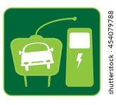 electric car icon with plug and ... | Shutterstock .eps vector #454079788