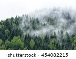 view of foggy mountains | Shutterstock . vector #454082215