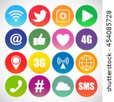 set of social networking icons. ... | Shutterstock .eps vector #454085728