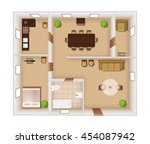 flat rooms interior with... | Shutterstock .eps vector #454087942
