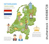 flat design netherlands travel... | Shutterstock .eps vector #454088728