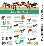 horse rising infographics flat... | Shutterstock .eps vector #454088776