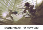 fight between samurai and robot ... | Shutterstock . vector #454095982