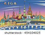 sketch of old town and river... | Shutterstock . vector #454104025