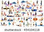 sunny day on beach activity... | Shutterstock .eps vector #454104118