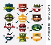 set of vintage camping and... | Shutterstock .eps vector #454104346