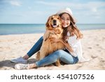 cheerful pretty young woman in... | Shutterstock . vector #454107526