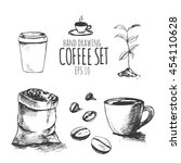 hand drawing coffee set  vector ... | Shutterstock .eps vector #454110628