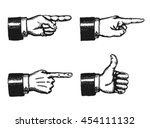 pointing finger and thumbs up... | Shutterstock .eps vector #454111132