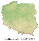 relief map of poland   3d... | Shutterstock . vector #454112992