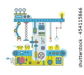 conveyor robotic system with... | Shutterstock .eps vector #454115866