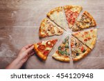 slices of pizza with different... | Shutterstock . vector #454120948