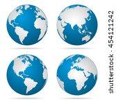 earth globe revolved in four...   Shutterstock .eps vector #454121242