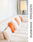 pillow on white sofa decoration ... | Shutterstock . vector #454123252