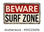 beware surf zone vintage rusty... | Shutterstock .eps vector #454123696