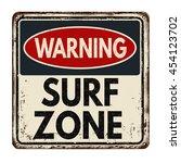 warning surf zone vintage rusty ... | Shutterstock .eps vector #454123702