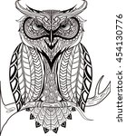 vector hand drawn owl sitting... | Shutterstock .eps vector #454130776