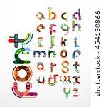 linear design font  alphabet... | Shutterstock .eps vector #454130866