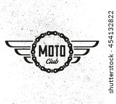 moto club. retro badge. vintage ... | Shutterstock .eps vector #454132822