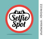selfie spot sticker sign design.... | Shutterstock .eps vector #454146112