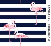 pink flamingo seamless pattern... | Shutterstock .eps vector #454148296