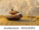 Small photo of Summer beach. Closeup view on two big mussel (Unionidae) with small mussel (Dreissena polymorpha Pallas) on a sand and river with sunlight spots as background at sunset. shallow dof