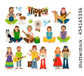 hippie vector illustration.... | Shutterstock .eps vector #454165336