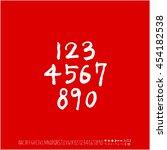 alphabet   number   handwriting ... | Shutterstock .eps vector #454182538