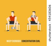bicep exercises. concentration... | Shutterstock .eps vector #454183606