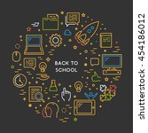 round line concept for back to... | Shutterstock .eps vector #454186012