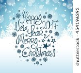 happy new year and merry... | Shutterstock .eps vector #454196392