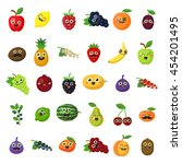 happy smiling fruits on white... | Shutterstock .eps vector #454201495